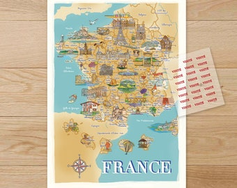 Poster map illustrated France