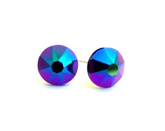 Color changing Swarovski crystal stud earrings, 7mm Scarabaeus Green, iridescent purple, blue and green metallic studs, rainbow posts