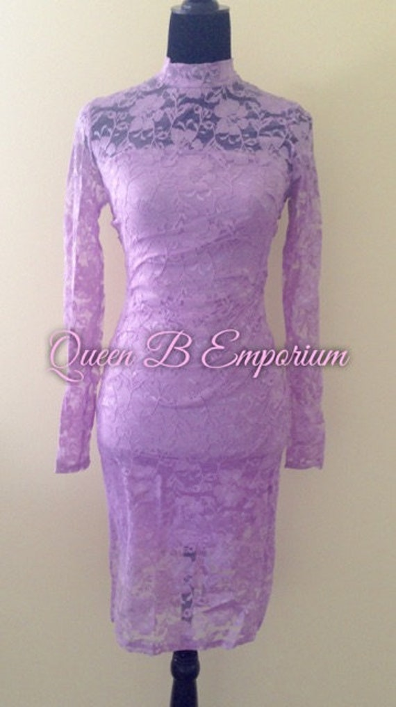 lavender Lace Keyhole Back Bodycon Cocktail Classy Sexy Midi Dress