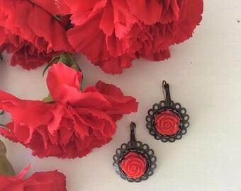 Red rose resin earrings