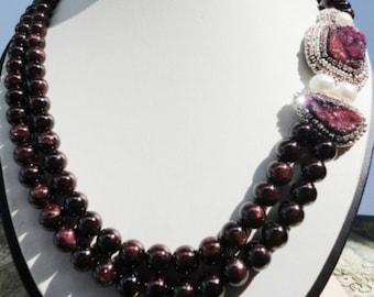 beadwork necklace, garnet necklace silver, druzy necklace silver, garnet necklace with pearls, garnet bead necklace, january birthstone