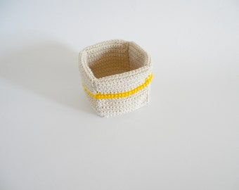 Crochet container, kitchen twine crochet basket with yellow border, Kitchen home decor, rustic accessories, crochet ecru READY TO SHIP