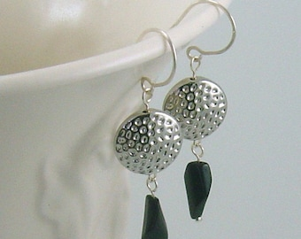 SALE Silver Disc Earrings