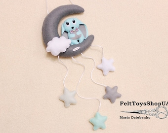 Bunny mobile Baby mobile Moon and stars Rabbit on the moon Nursery decor Felt mobile Bunny Rabbit Moon Stars  For boys and girls