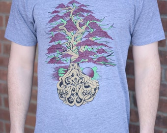 Funkadelic Family Tree T-shirt, Men's American Apparel Athletic Grey Tri-Blend Tee