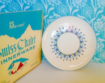 NOS Swiss Alpine  serving plate, large chop plate, Marcrest Stetson,, mid century, blue and green leaf, retro, swiss chalet, meat platter