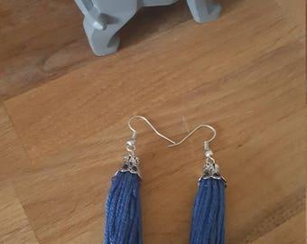 Blue earrings handmade tassel