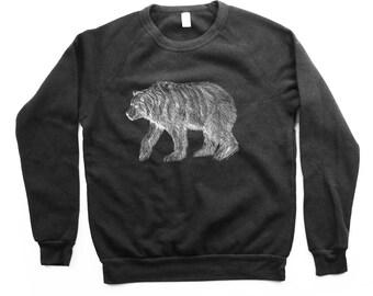 Bear Sweater  - Black Longsleeve Grizzly Bear - Bear Sweateshirt - Bears -  Small, Medium, Large, Extra Large
