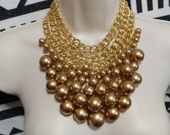 Huge Vintage Gold Lucite Pearl Drop Bib Gold Tone Chain Necklace Choker