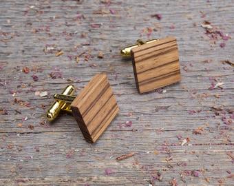 Wood Cufflinks, Square zebrano wood cufflinks, Wedding Cufflinks, 5th Wedding Anniversary Present, cufflinks for men, groomsmen, customized