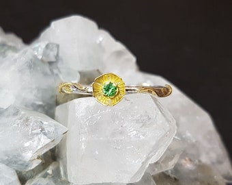 Tsavorite sterling silver 18k gold floral  ring