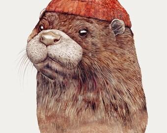 Otter Art Print, Otter Illustration, Otter Wall Art