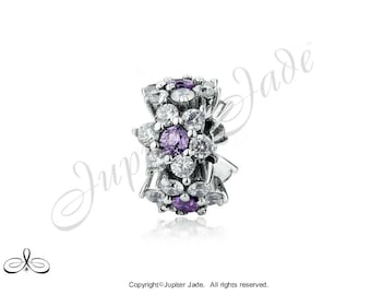 Authentic 925 Sterling Silver European Bracelet Charm w Pave Cubic Zirconia - Purple Bellflower - Size compatible w Pandora