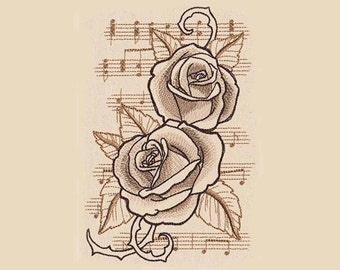 Musical Roses Tea Towel | Embroidered Kitchen Towel | Embroidered Towel | Embroidered Tea Towel | Personalized Kitchen Towel | Decor