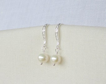 Sterling silver pearl drop earrings, ivory-white freshwater pearls and sparkling cubic zirconia,  bridal, bridesmaid, prom, kate middleton