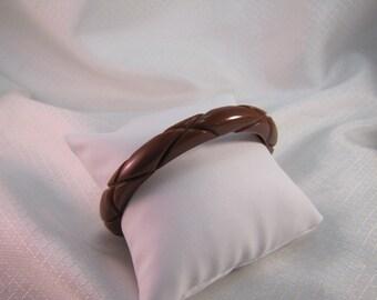Vintage Carved Brown Bakelite Bangle Bracelet