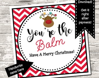 Christmas You're The Balm Favor Tag Gift Tag Thank You Tag Digital Printable INSTANT DOWNLOAD