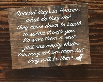 Special Days in Heaven Wood Sign|| Memorial Wood Sign||  Rustic Wood Sign||