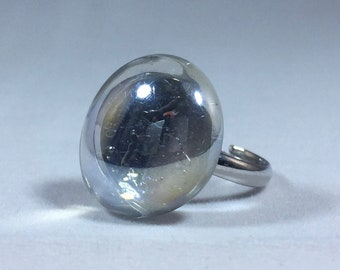 Clear Glass Pebble Adjustable Ring