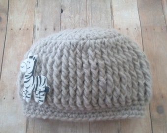 Crochet Baby Hat, Giraffe Felt Hat, Baby Boy Hat, Baby 4 months Hat, Baby Shower Gift