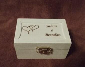 Custom Engraved White Ring Box