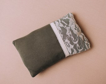 Handmade Khaki newborn photography posing pillow with lace detail