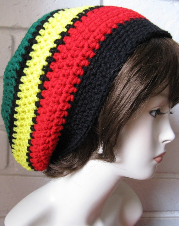 Jamaican Black Hippie Rasta Tam Slouchy Hat Crochet