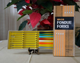 Colorful, stainless steel fondue forks, 8 piece set, like new, in original box