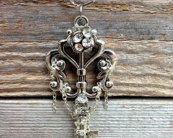 Skeleton Key Necklace- Crystal and Wrapped Chain
