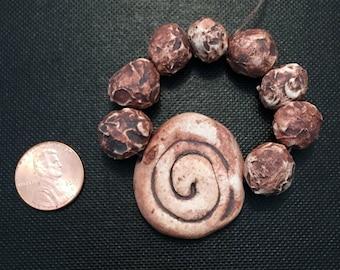 Handmade Beads; Pottery Beads, Ceramic Beads, Round Beads, Swirl Bead, Natural Beads, Stoneware Beads, Porcelain Beads, Unique Beads, Earthy