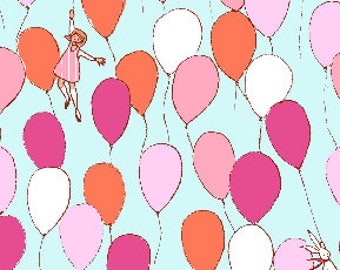 Balloons in Aqua Fabric from Best of Sarah Jane Collection for Michael Miller Fabrics (Children at Play reprint)