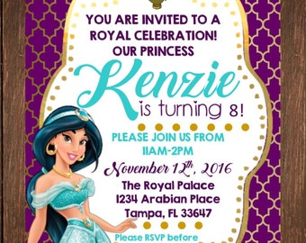 Princess Jasmine Birthday Invitation *Free Thank You Card File With Purchase!!*