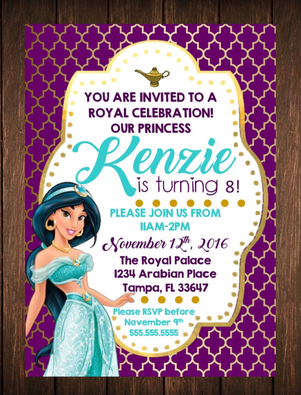 Princess Jasmine Birthday Invitation Free Thank You Card File