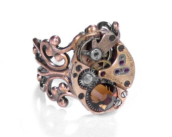 Steampunk Jewelry Ring Vintage ROSE GOLD Watch Movement Topaz Crystal Wedding Girlfriend Mens Womens Holiday Gift - by Steampunk Boutique