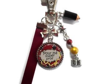 "Bag charm, door keys/teacher / ""for my super teacher"" / year end gift/birthday/party/thanks/holiday / Christmas"