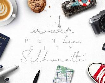 Pen Line City Silhouette