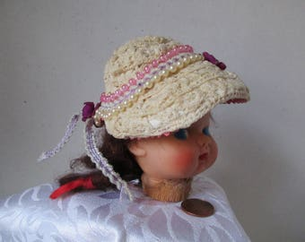 Vintage Look Hat for 10 inch doll Cream Purple Lavender