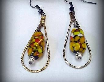 Fall Earrings, Halloween Earrings, Thanksgiving Earrings, Vintage Glass Beads