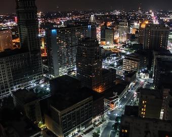 Detroit Skyline at Night #2 Fine Art Photograph on Metallic Paper
