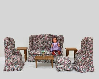 Dollhouse Living Room Set - 7 Pieces - Couch, Chairs, Foot Rest, End Tables, Coffee Table  - Concord Miniatures for Dollhouse