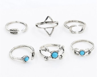 6 gold midi rings, above knuckle rings, stacking rings, midi mid rings, finger rings, boho rings, midi rings set
