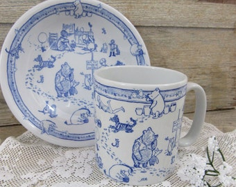 Vintage Spode Pooh Children's China Set Bowl and Cup Chinoise Classic Pooh Discovery Blue Disney Showcase England