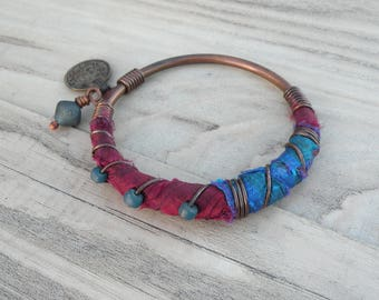 Silk Road Copper Bangle - Boho Silk Wrapped Bangle, Handmade with Tribal Metalwork and Recycled Sari Silk, Magenta Blue Turquoise