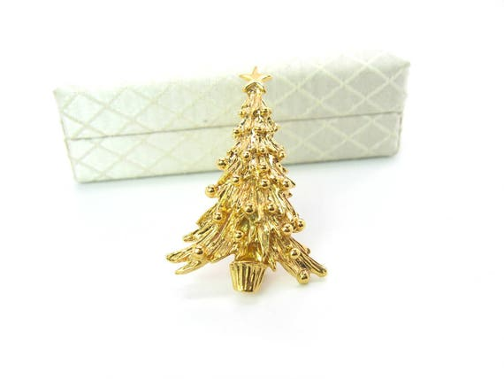 Vintage Napier Gold Tone Christmas Tree Brooch. Holiday Jewelry. NIB