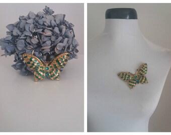 Vintage butterfly brooch | enamel & crystal brooch