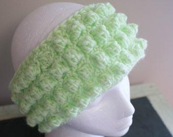 Wide Green Headband, Chunky Headband, Womens Ear warmers, Textured Headband, Crochet Ski Hairband, Ski Headband, Mint Green Headband