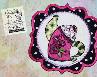Whimsy Teapot 1 - Mug Rug/Coaster - Machine Embroidery Design. 5x7 In The Hoop Instant Download. In the hoop. Teapot Coaster Gift Giving