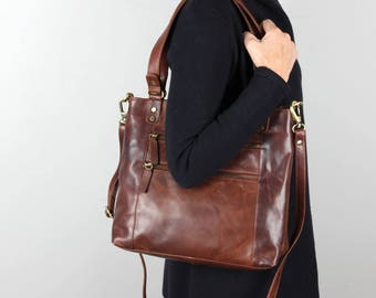 Brown Leather Purse with Pockets, Leather Handbag