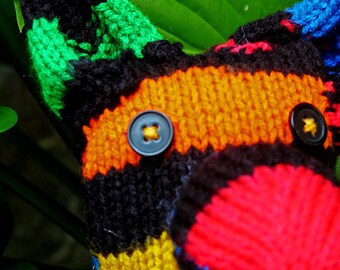 Bright Striped Classic Hand Knit Button-eyed Kangaroo Stuffed Animal