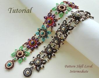 JEWELED TILES beaded bracelet beading tutorials and patterns seed bead beadwork jewelry beadweaving tutorials beading pattern instructions